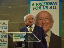 President Higgins, Aras, Higgins re-elected