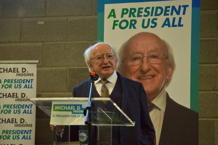 President Higgins, Aras, Higgins re-elected